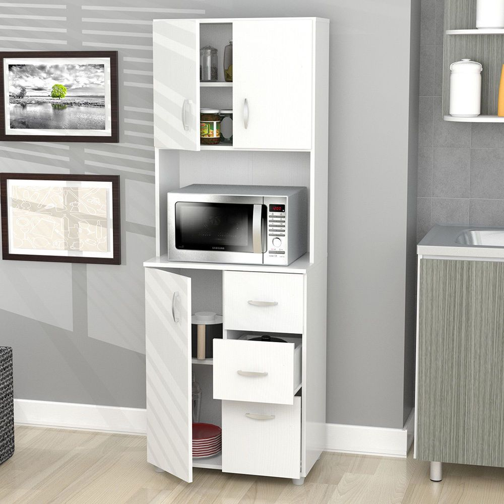 Microwave Storage Shelf Pantry Kitchen Dorm White Cabinet Cupboard ...