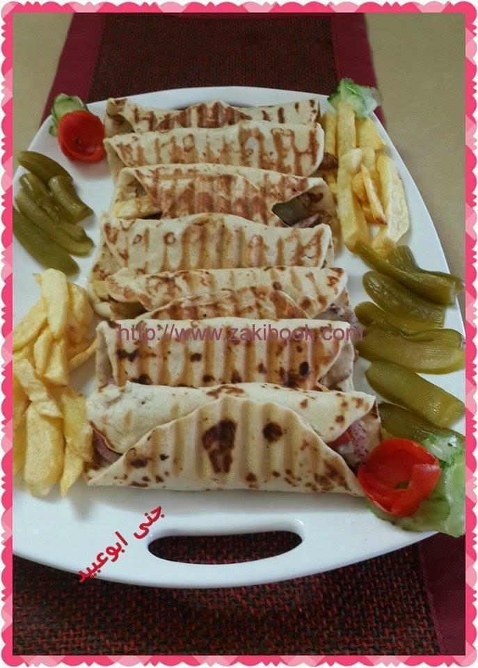 طريقة عمل الشاورما بخبز التورتيلا بالصور زاكي Recipes Cooking Recipes Lebanese Recipes