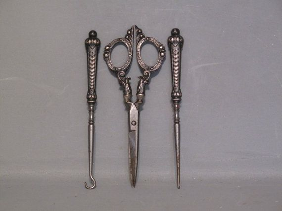 victorian sewing tools | Vintage Sewing Set / Victorian Stylish Lady Sewing Set, Scissors ...
