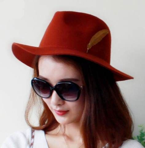 2c065542518e6 Orange fedora hat with feather wool winter hats for women Fedora Hat Women