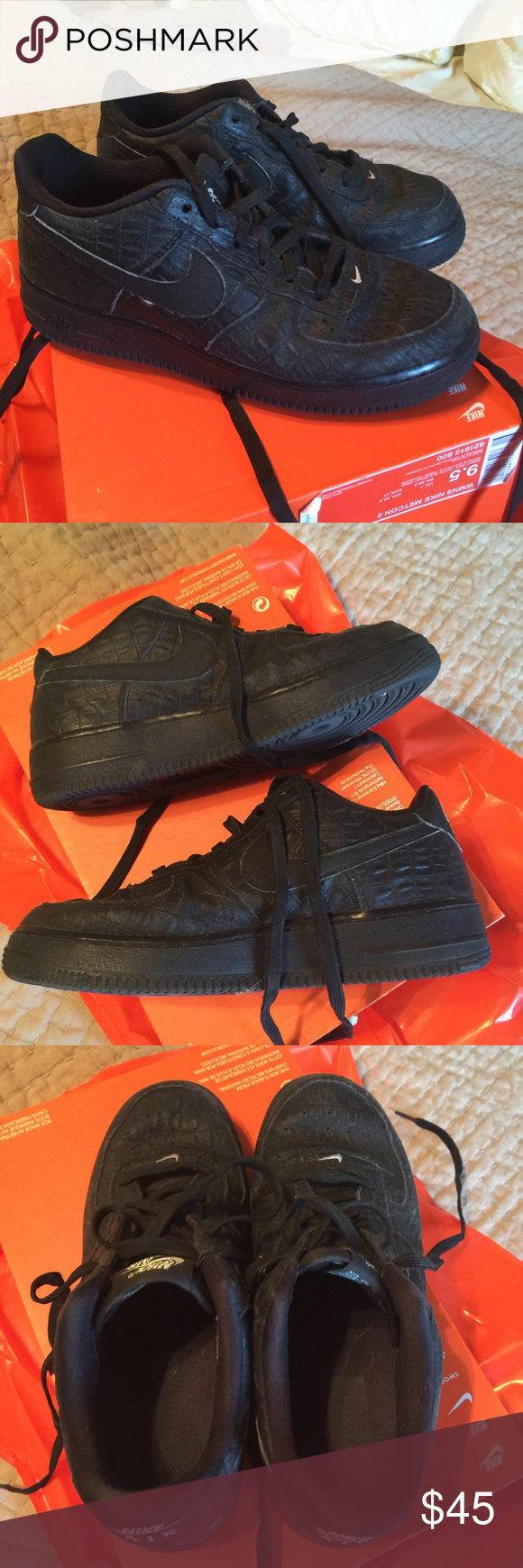 Nike Air Force reptile Shoes Bought worn, laced need to be replaced. Reptile print, very well taken care of, inside is piling though. NOT ORIGINAL BOX, but will come with box to store in and Nike bag. Offers welcome. Price reflects the worn on inside. Offers welcome always Nike Shoes Sneakers