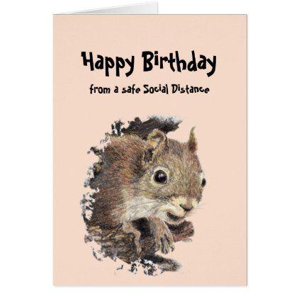 Funny Social Distancing Birthday Cute Squirrel Zazzle Com Cute Squirrel Squirrel Squirrel Funny