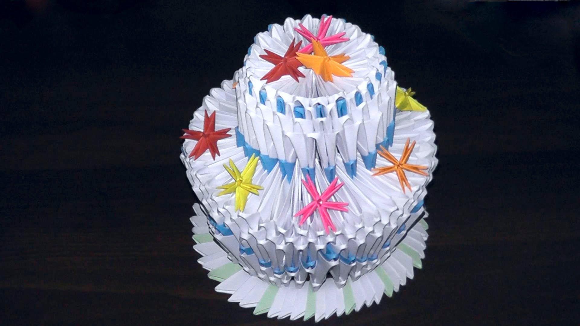 Peachy 3D Origami Birthday Cake Pie Tutorial 3D Origami Birthday Cards Printable Trancafe Filternl