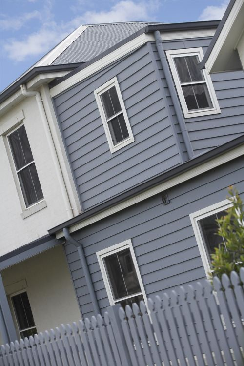 Blue Grey Weatherboards With White Trim Facades