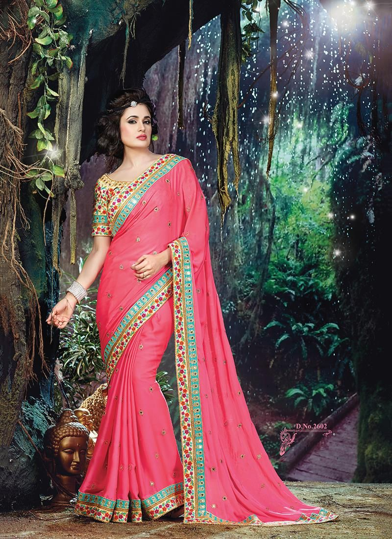 Hot pink patch border work crepe jacquard classic designer saree