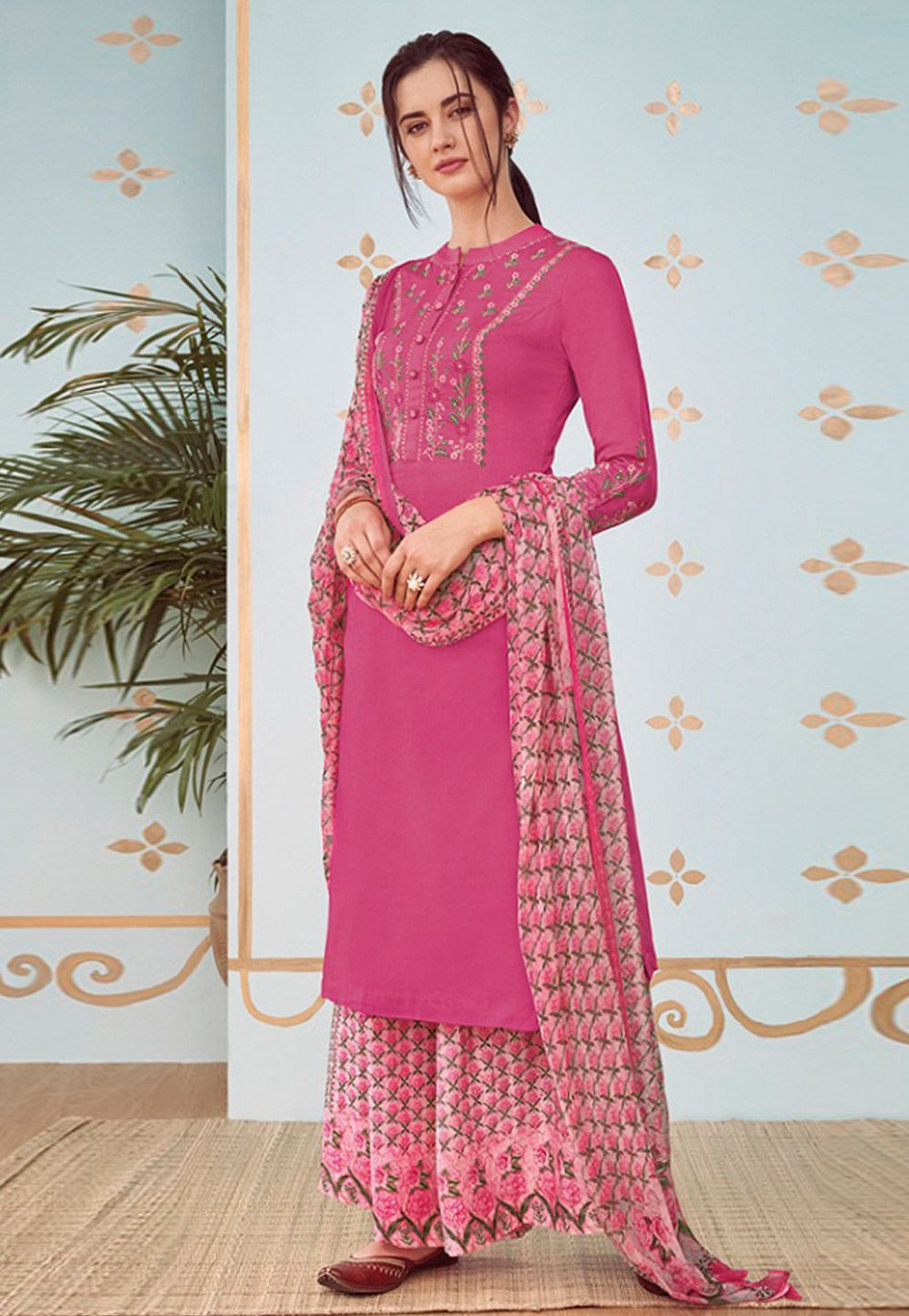 352912dc4 Buy Pink Cotton Palazzo Suit 160584 online at lowest price from huge  collection of salwar kameez at Indianclothstore.com.