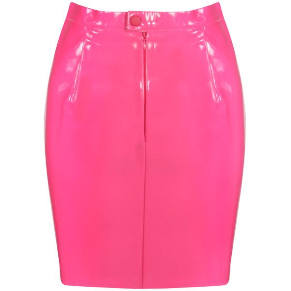Bright Pink PVC Mini Skirt (27 AUD) ❤ liked on Polyvore featuring ...