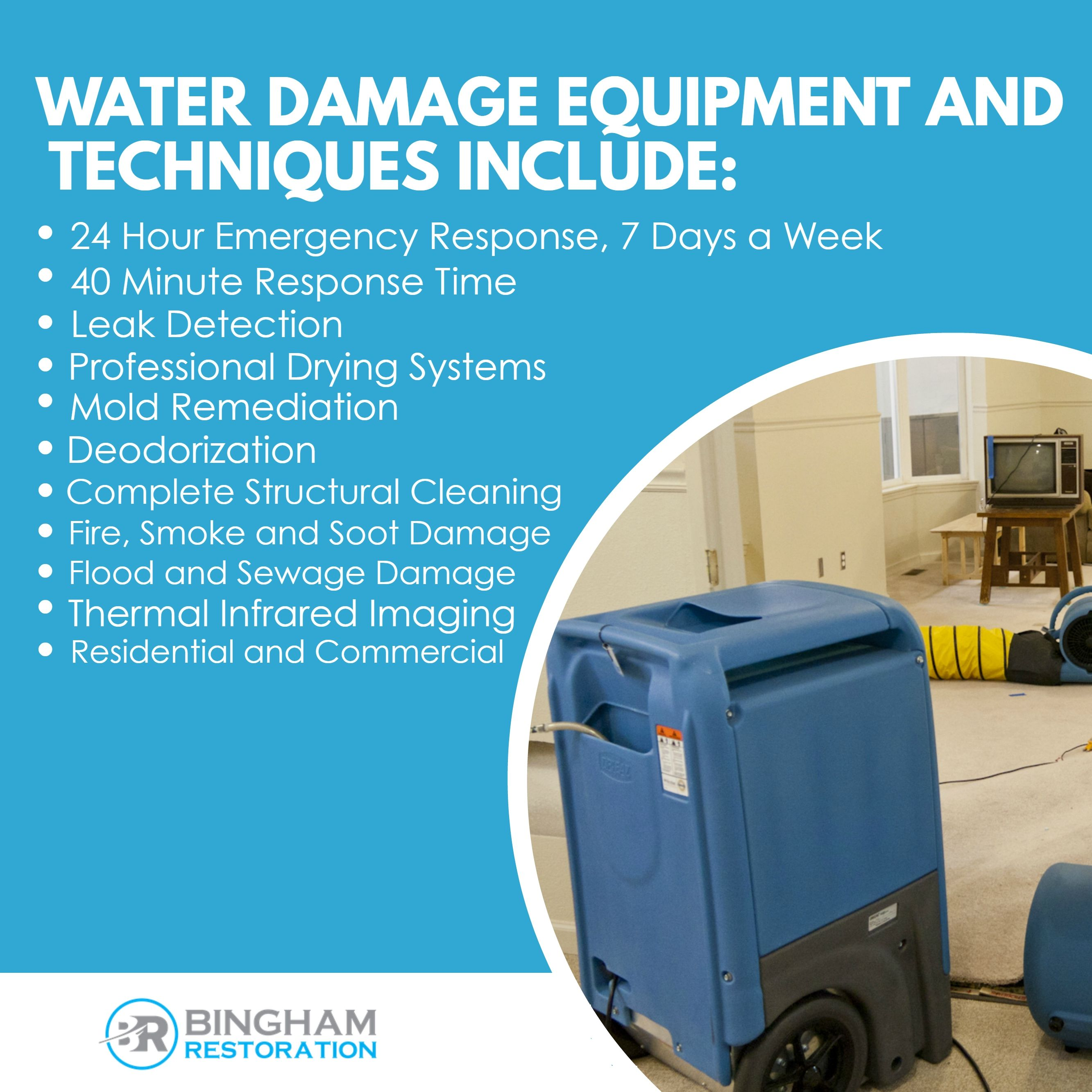 Water Damage Equipment And Techniques Include 24 Hour Emergency Response 7 Days A Week 40 Minute Respons With Images Mold Remediation Emergency Response Restoration