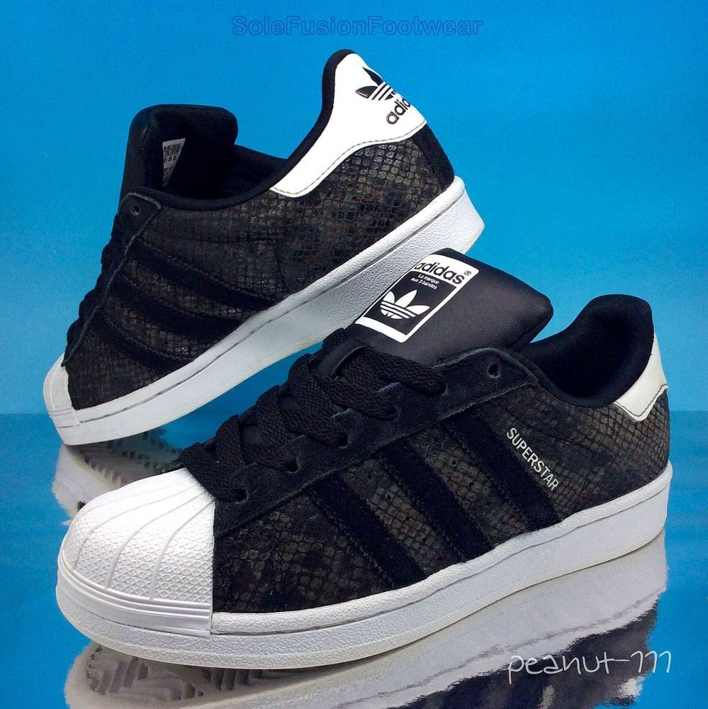 8e4bde7f445a adidas Originals Superstar Snake Trainers Black sz 4 Womens Girls US 5.5 36  2 3