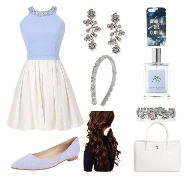 """blue & white dress"" by oasis13 ❤ liked on Polyvore featuring Butter Shoes, Oscar de la Renta, Chanel, White House Black Market, philosophy and Kate Spade"