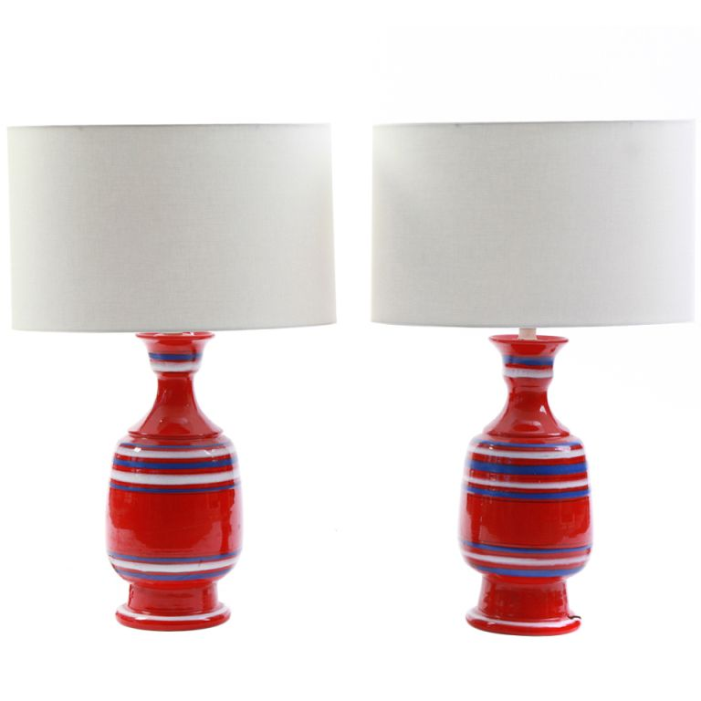 Pair of Ceramic Italian Table Lamps #lamp #red #modern #decor (via @1stdibs)