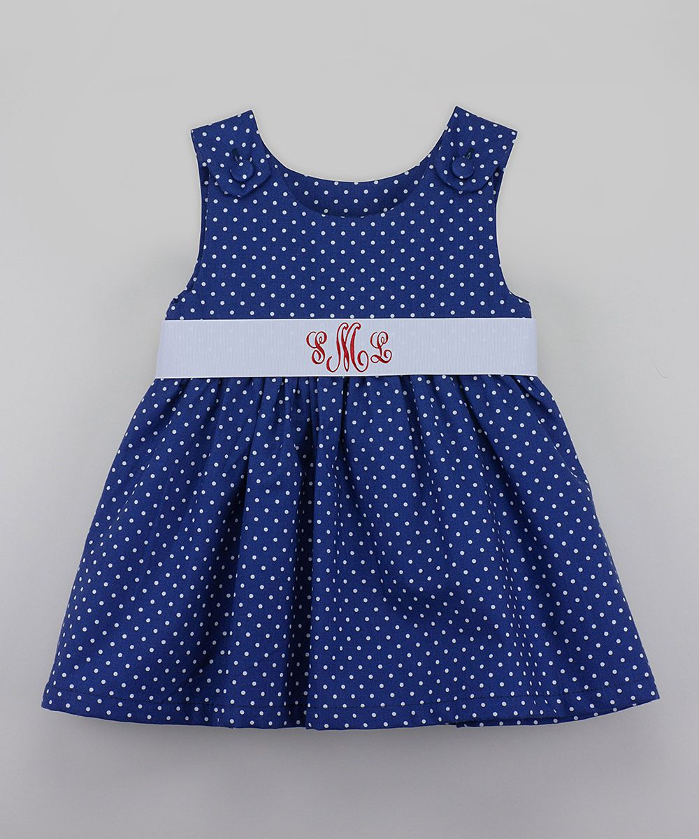 Navy Polka Dot Monogram Dress - Infant & Toddler