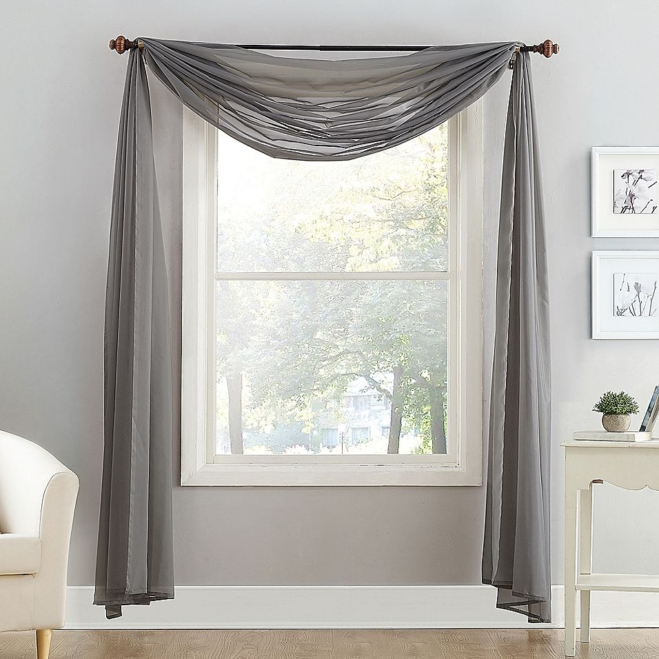 Voile Sheer Window Scarf Charcoal Window Scarf Scarf Valance