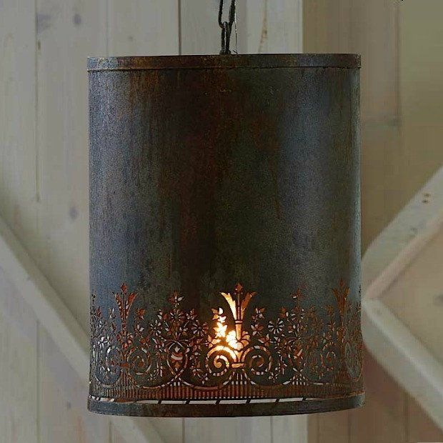 Rustic Punched Tin Hanging Pendant Light