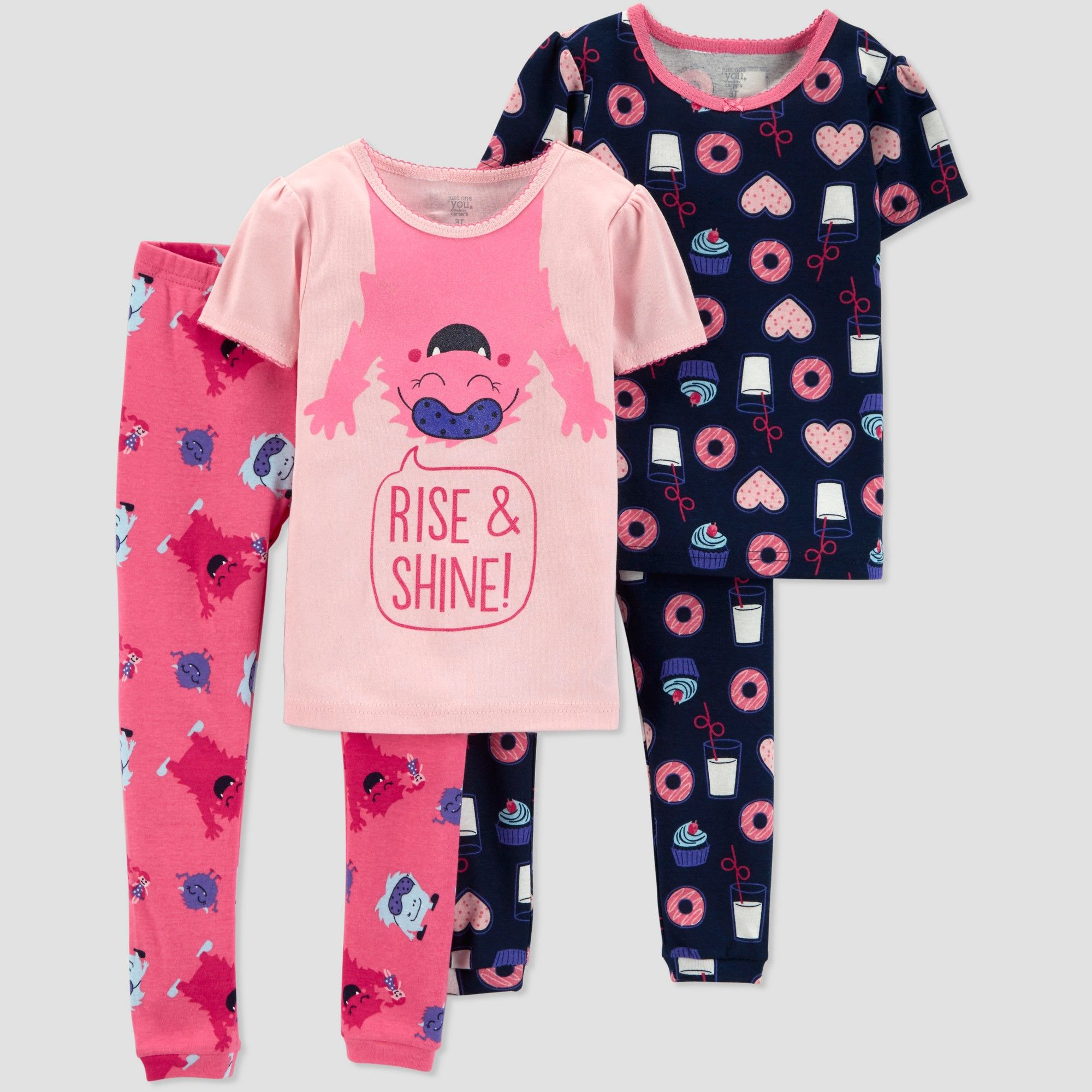 efe8842217fd Baby Girls  4pc Monster South Pajama Set - Just One You made by ...
