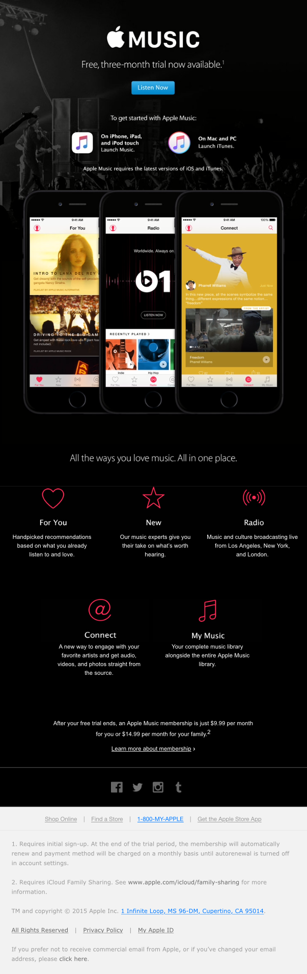 Apple Music is here  - Really Good Emails | landing page