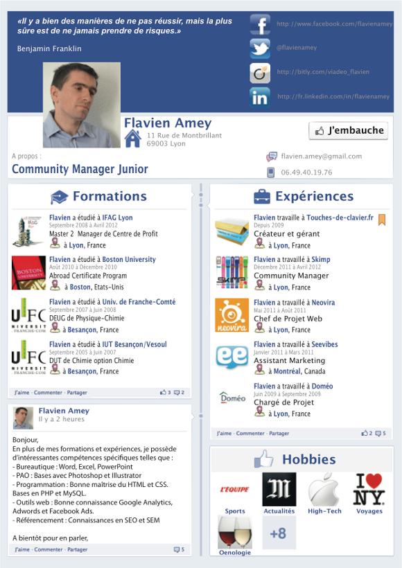 un cv facebook façon timeline blog emploi com http www blog