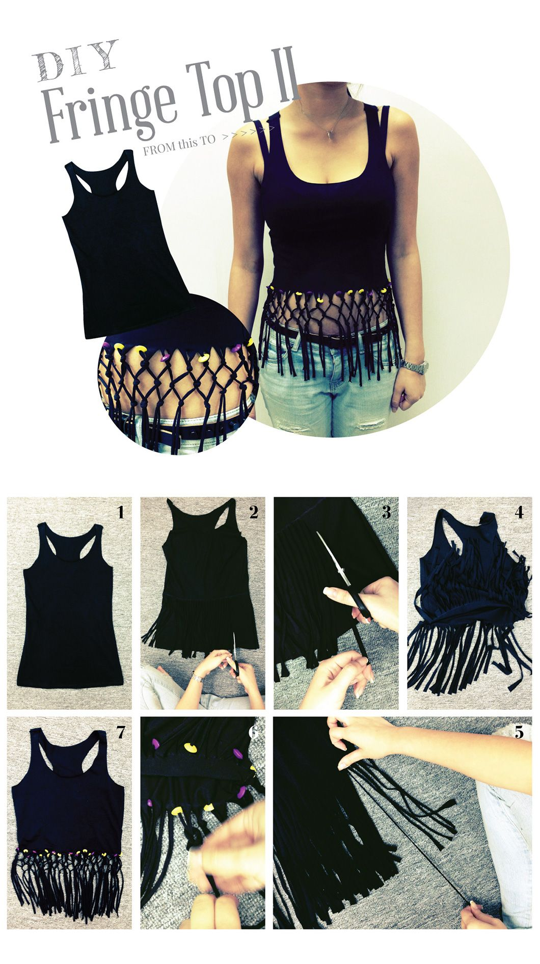 Diy Fringe Top Diy Clothes Diy Fashion Diy Clothes Refashion