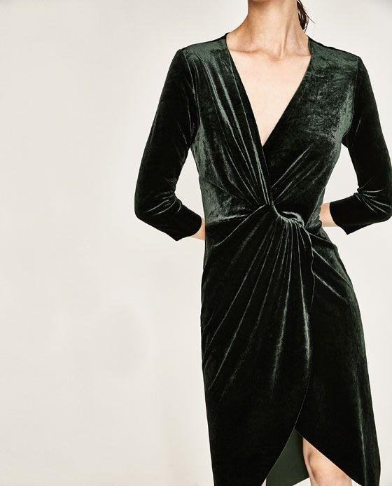 b0943d98ec278 Image 4 of CROSSOVER VELVET DRESS from Zara | What to Wear: Date ...