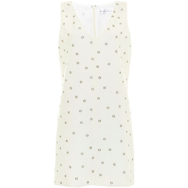 Victoria Victoria Beckham Cream Eyelet Wool-Crepe Shift Dress (£875) ❤ liked on Polyvore featuring dresses, cream dress, deep plunge v neck dress, structured dress, wool crepe dress and straight dress