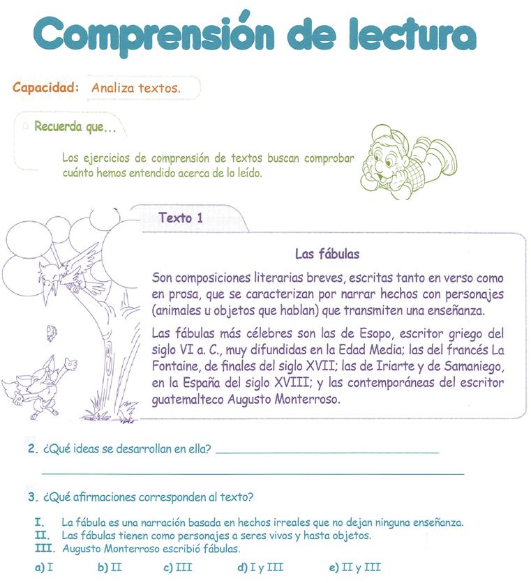 Comprensi n lectora y m s actividades de razonamiento for Espanol lecturas cuarto grado 1993