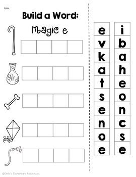 Magic E Long Vowel Cvce Phonics Word Work Printables Magic E Word Work Kindergarten Word Work Printables Silent e worksheets for kindergarten