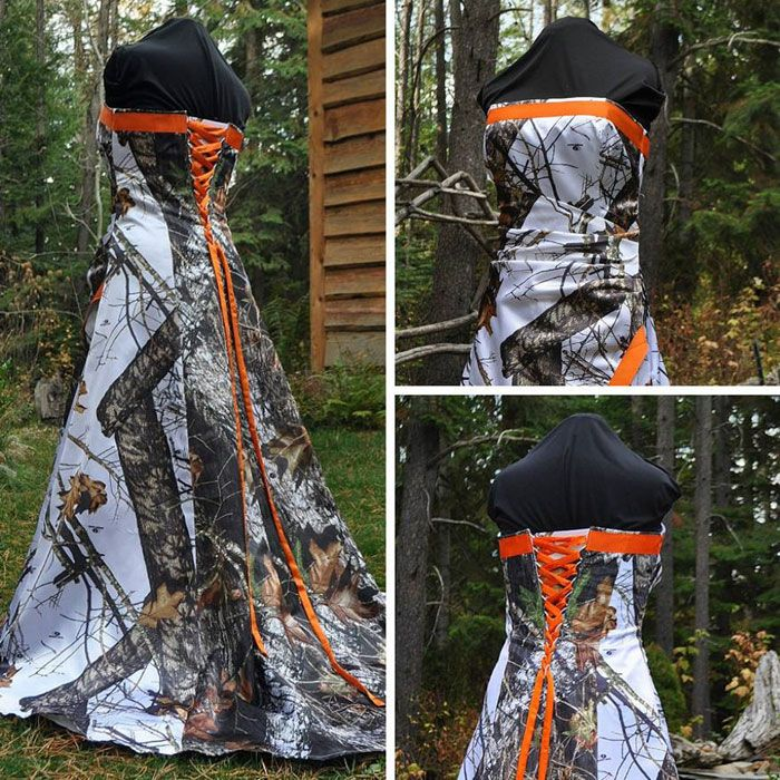 Camo And Orange Wedding Dress Camo Wedding Dresses White Camo Wedding Dress Camouflage Wedding Dresses