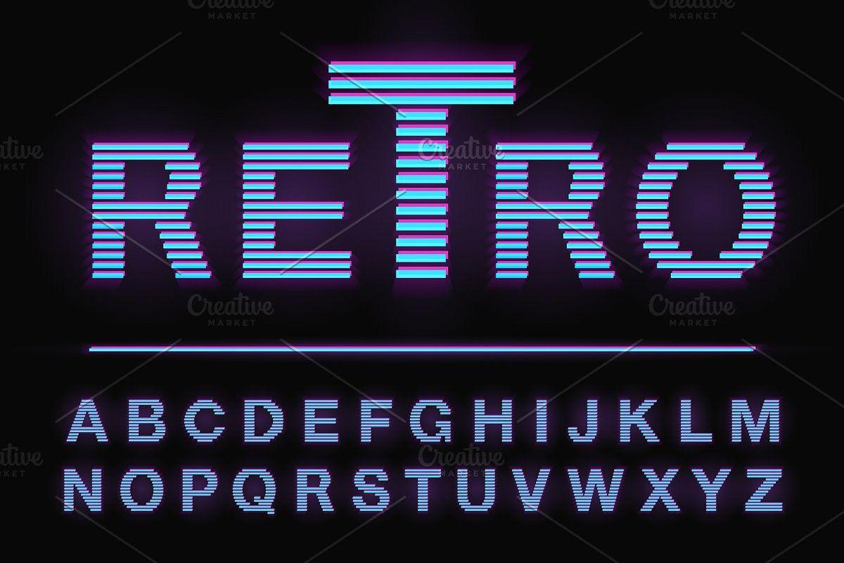 80 S Retro Neon Light Style Font In 2020 Neon Lighting Neon Retro