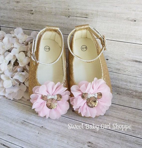 dead3524298b4 These Gold Minnie Mouse shoes are perfect for her Pink and Gold ...