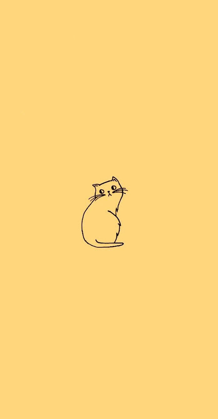 Inspo Cat doodle, Tumblr yellow, Minimalist wallpaper