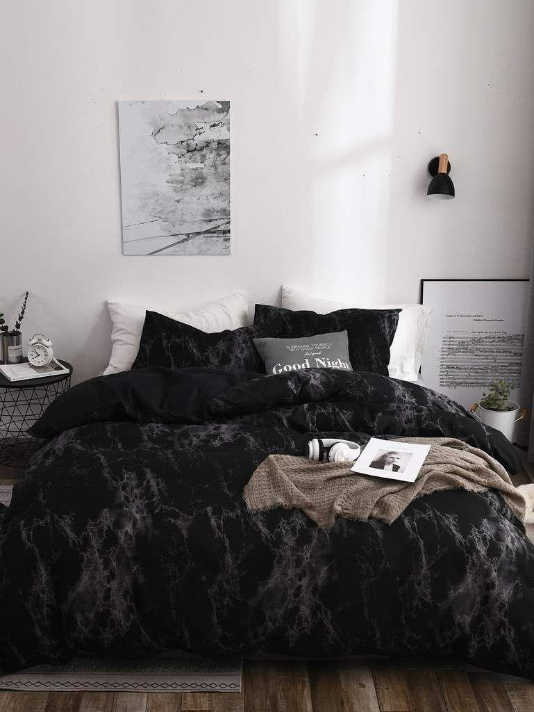 Black Marble Print Sheet Set Sic Tranist Gloriaa Marble Bedroom Black Bedroom Design Modern Bedroom