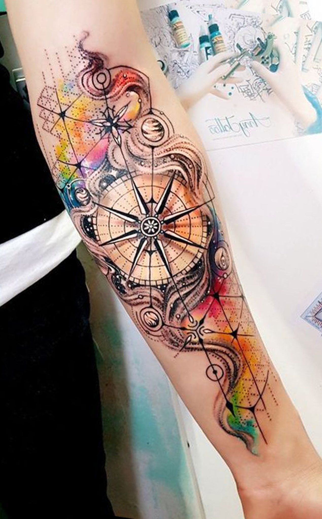 Watercolor Compass Inner Forearm Tattoo Ideas for Women