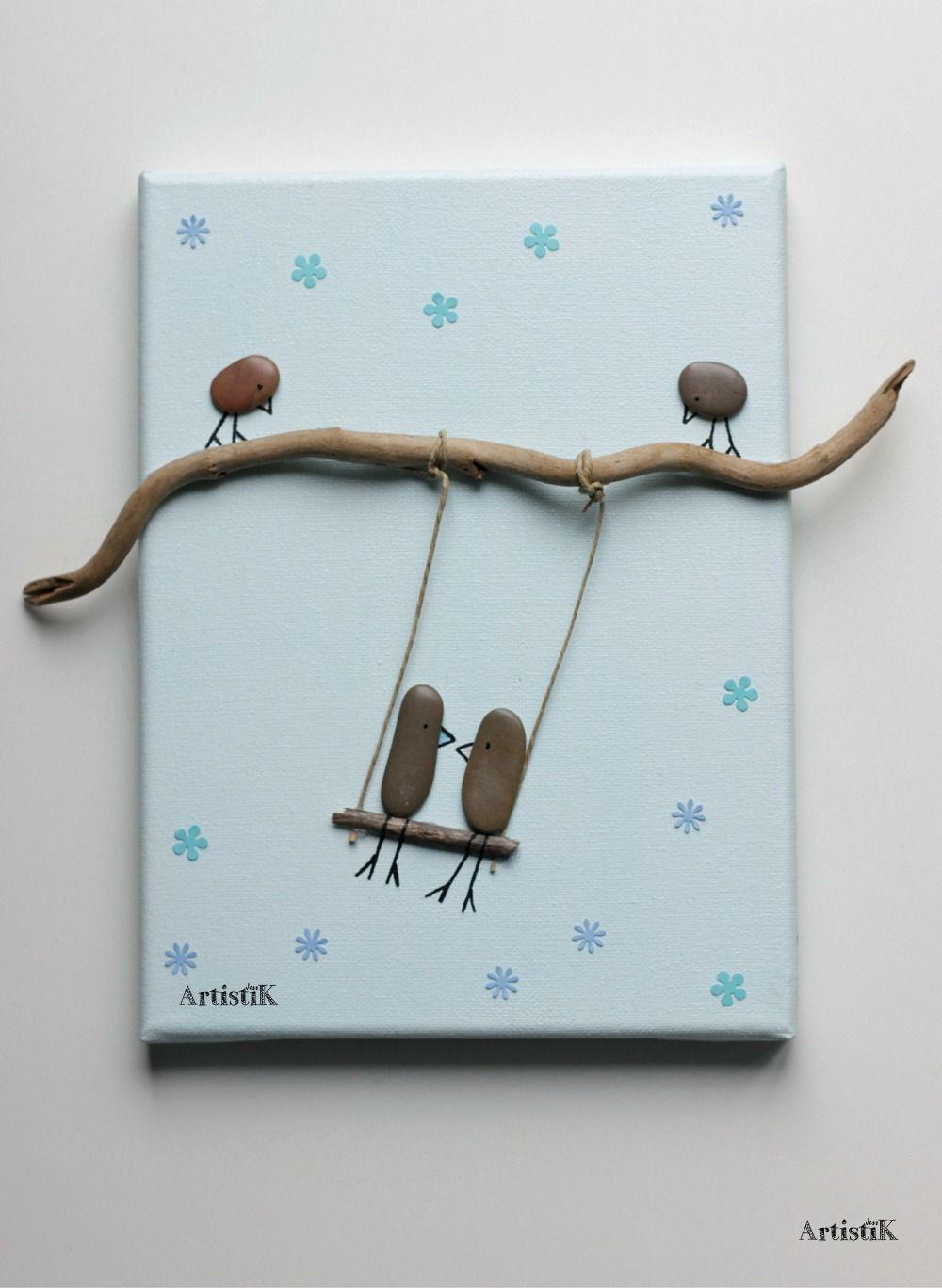 tableau galets bois flott oiseaux balan oire bleu pastel. Black Bedroom Furniture Sets. Home Design Ideas