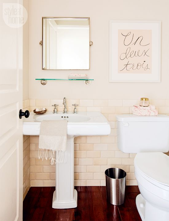 Bathroom Design Jillian Harris S Pretty Peach Powder Room Photo Janis Nicolay