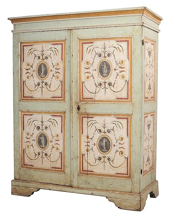 Very Fine Italian Neoclassical Paint Antique Hand Painted Furniture Mountain Decor Painted Furniture