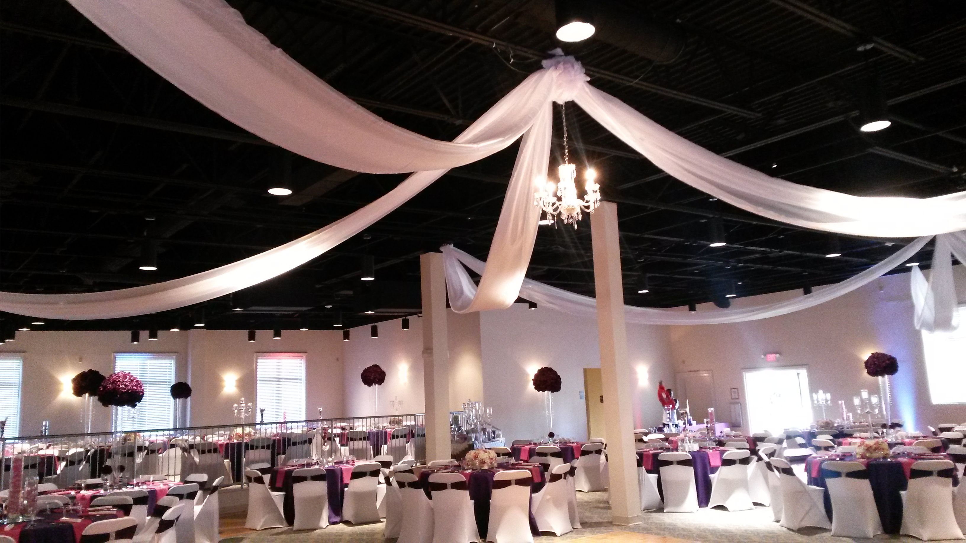 Simple ceiling with elegant table settings. - May 16th, 2015 - Wedding Reception
