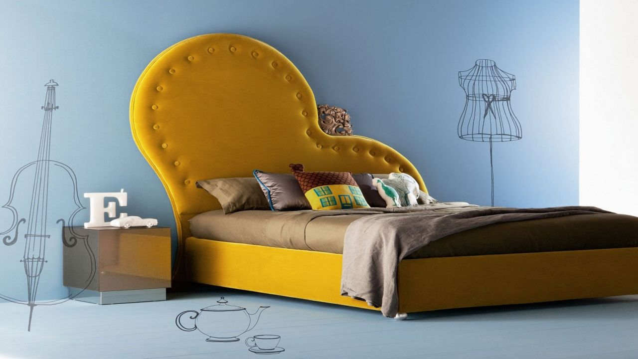 Bedroom Creative And Unique Unusual Upholstered Headboard With Yellow Cover For King Size Low Profile & Bedroom Creative And Unique Unusual Upholstered Headboard With ...