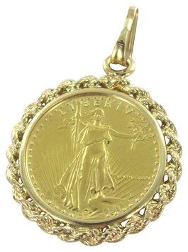 Gold 22k Coin 14k Karat Solid Frame Liberty Bullion Eagle Usa 5 Dollars Charm Bullion Gold Coins Karat