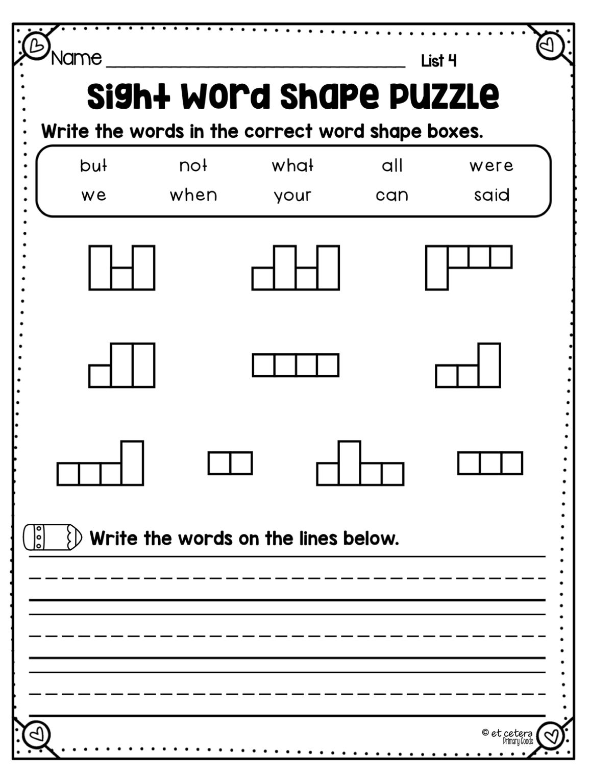 Sight Word Shape Puzzles Fry Words 1 500