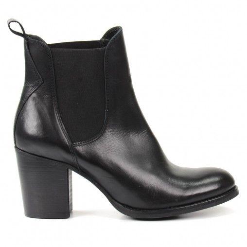Chelsea Boots Noir Cuir à Talon Noir XNLdt6F
