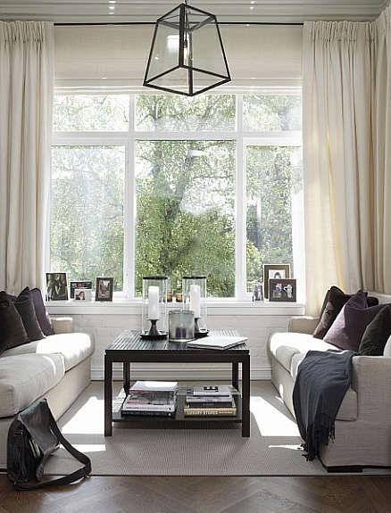 Light and bright with dark accents to anchor the room ...
