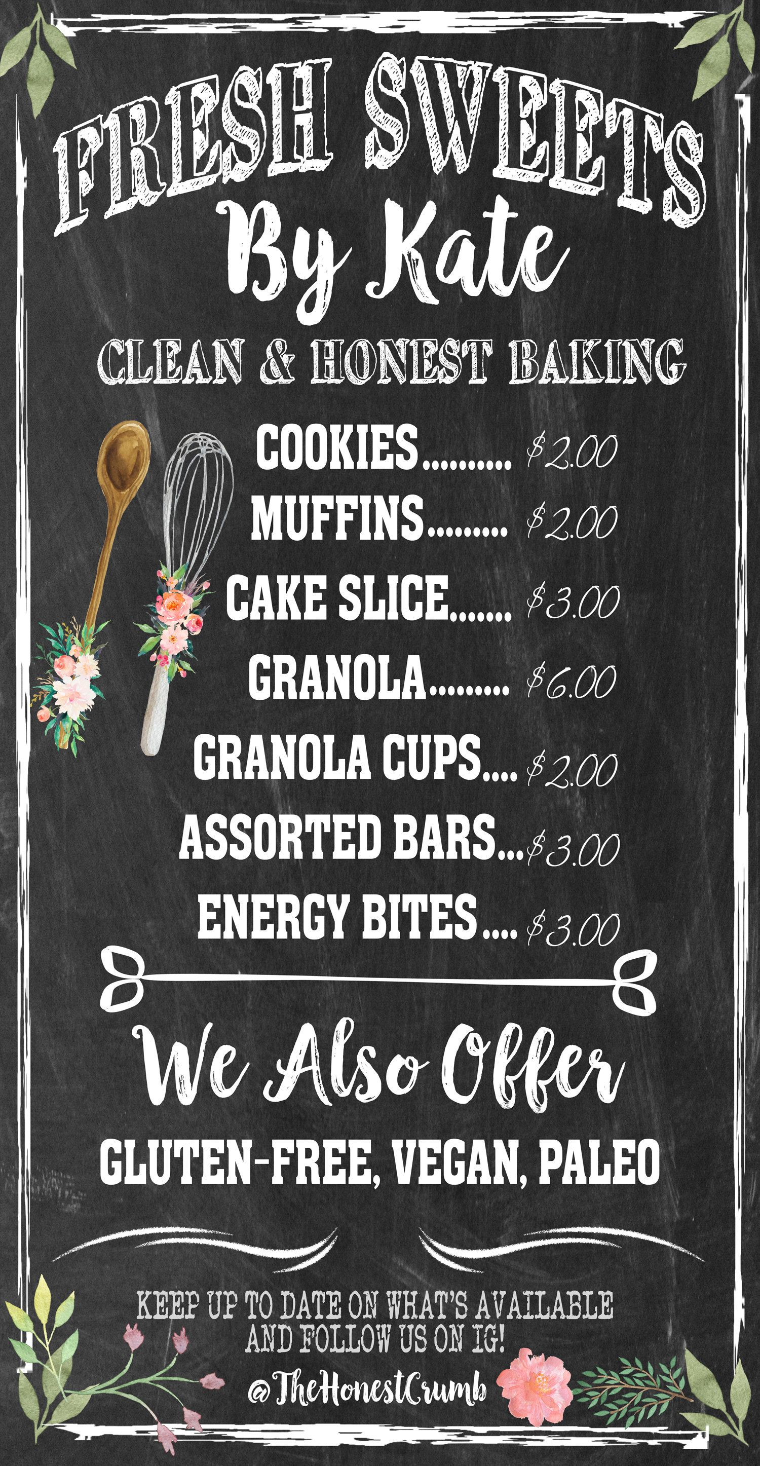Custom bakery menu bakery menu bakery menu