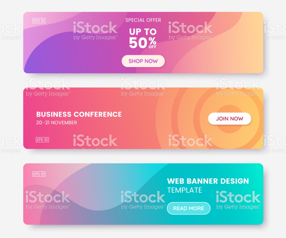 Colorful Web Banner With Push Button Collection Of Horizontal Web Banner Pastel Gradient Coupon Template
