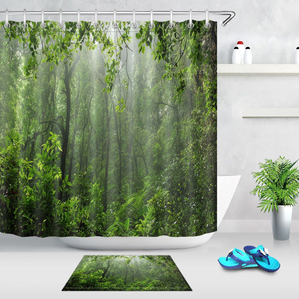 Misty Rain Forest Nature Bathroom Shower Curtain 12 Hooks Waterproof Fabric Unbranded Tropical Shower Curtain Bathroom Shower Curtains Natural Bathroom