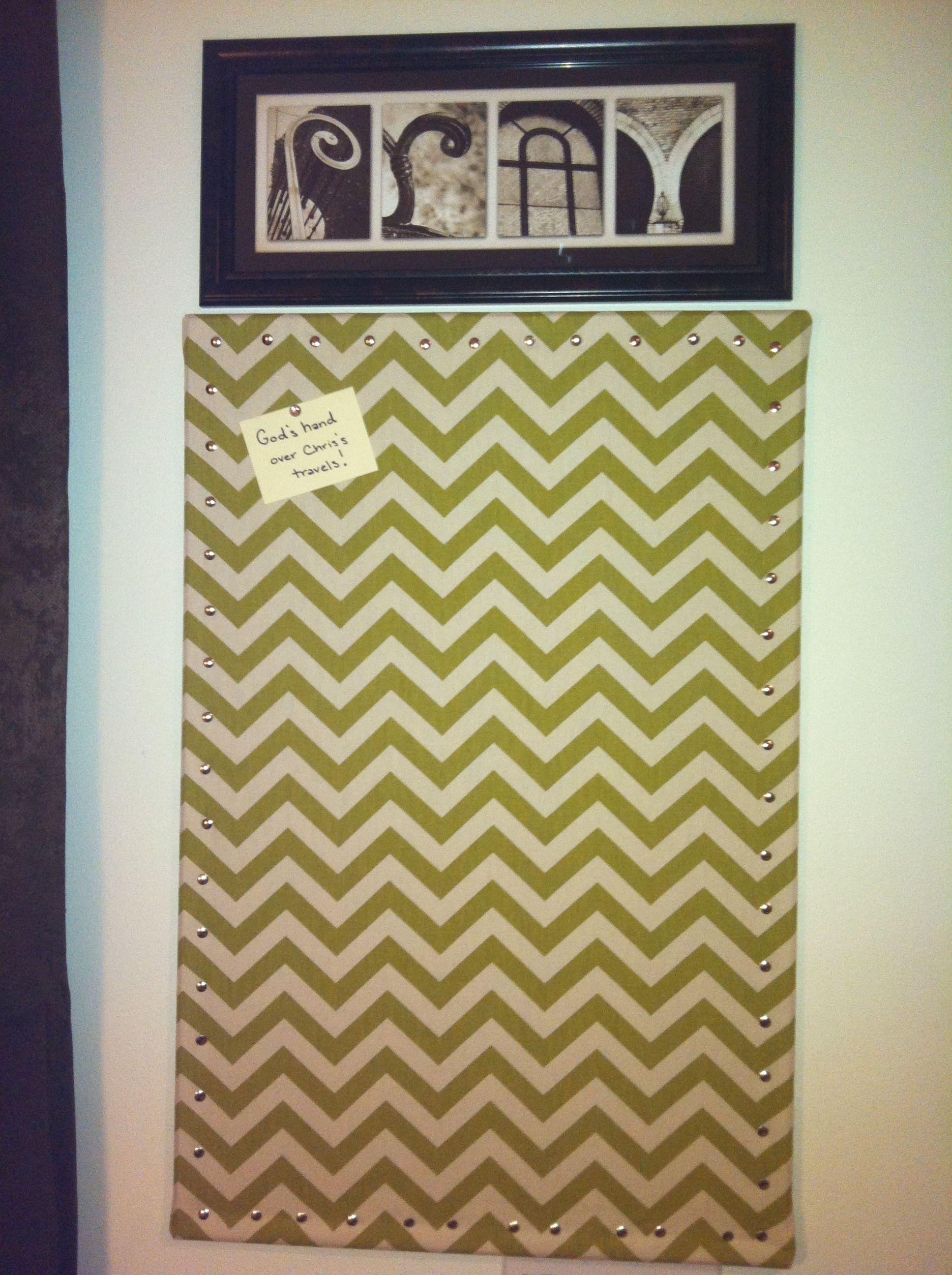 Prayer Board Cork board covered in chevron fabric Holly Lobby