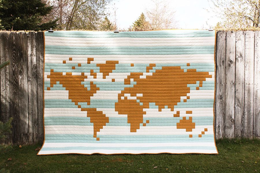 World Map Quilt Pattern.Pixelated World Map Quilt Yellow Spool Quilts Pinterest