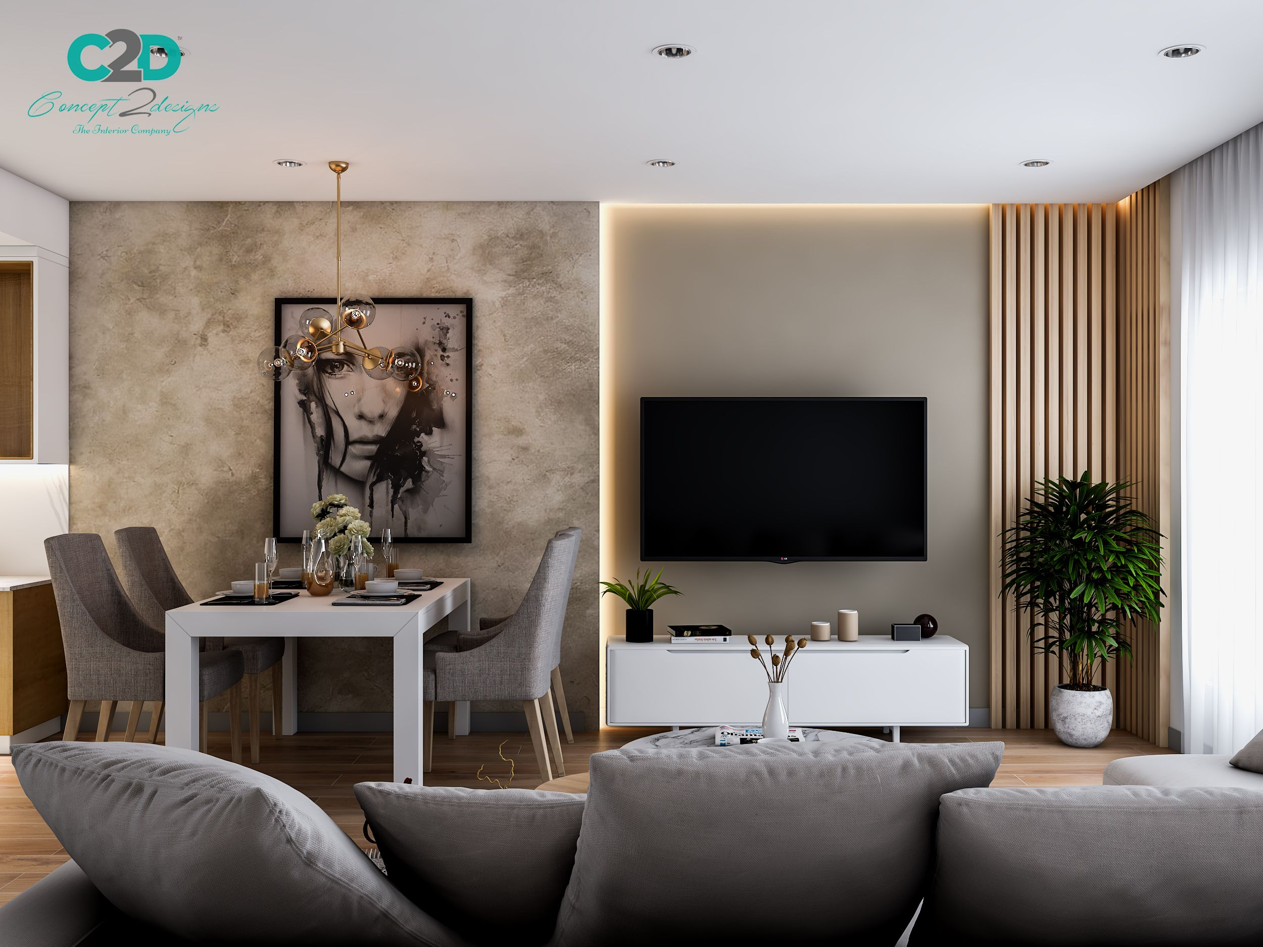 Luxury Living Room Dining Area In 2021 Living Room Tv Wall Grey Couch Living Room Living Room Grey
