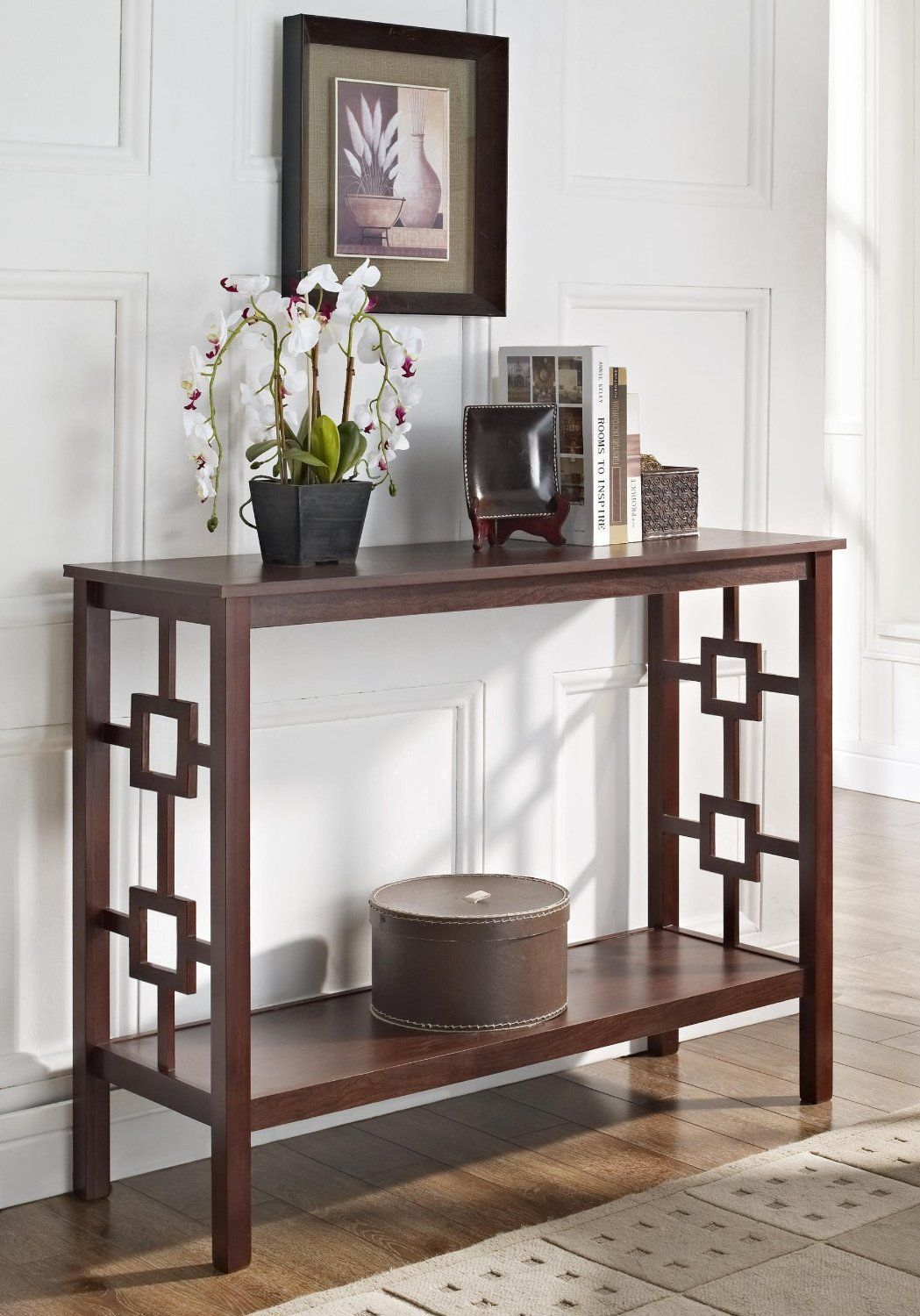 Amazon espresso square design occasional console sofa table espresso square design console sofa table overstock shopping great deals on coffee sofa end tables geotapseo Choice Image