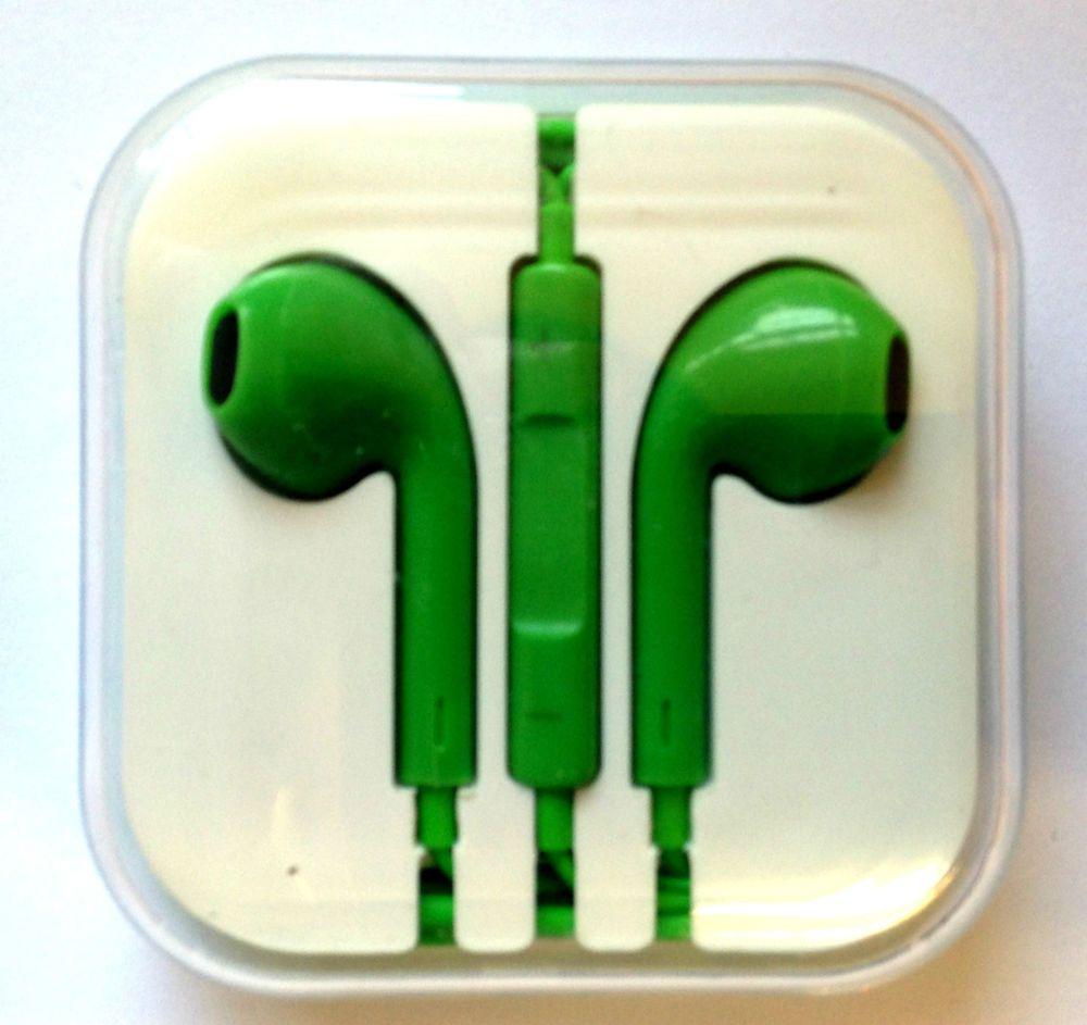 iPhone 5 5S 5C Headphones Earpods Handsfree Mic Volume Controller Green