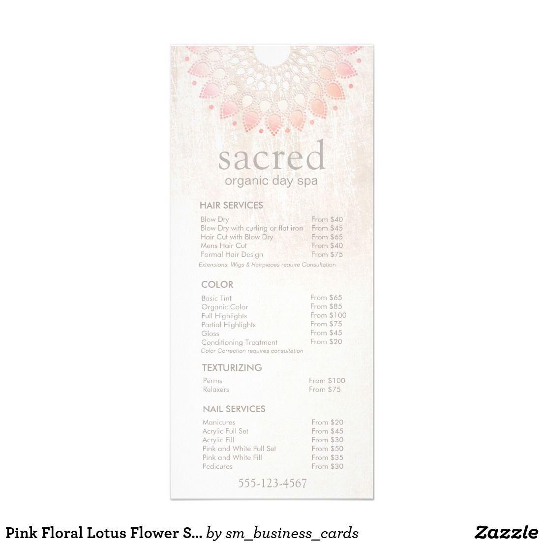 Pink Floral Lotus Flower Spa Salon Price List Menu | Price list and ...